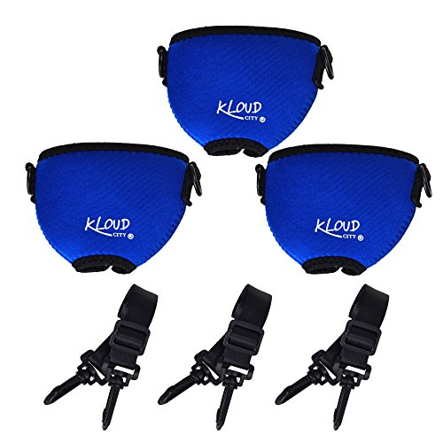 Glass Around (Beautyflier Pack of 3 Wine Glass Insulator/Drink Holder/Neoprene Sleeve with Adjustable Neck Strap For Conference Cocktail Reception(Blue))