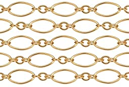 2 Feet 14Kt Gold Filled Long and Short Chain 3.5x7 mm 24 Gauge For Diy Beading Arts and Crafts