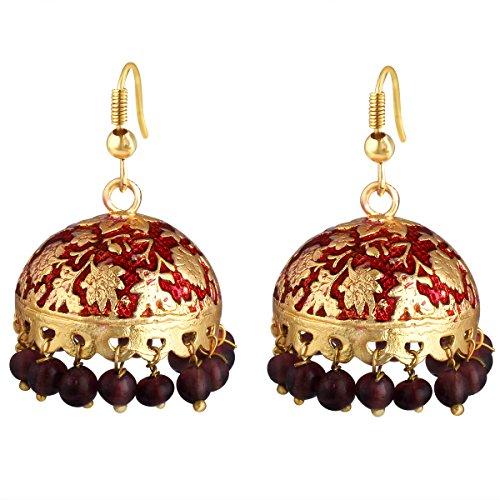 Spargz Alloy Gold Plated Beads Jhumki Earrings For Women's & Girls