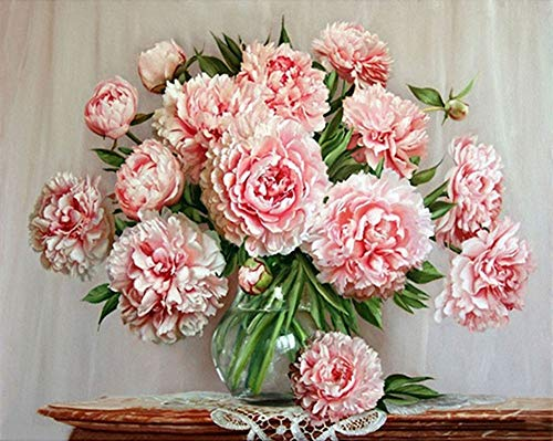 YEESAM ART DIY Paint by Numbers for Adults Beginner Kids, Pink Peony Flowers Glass Vase 16x20 inch Linen Canvas Acrylic Stress Less Number Painting Gifts (Pink, with Frame)