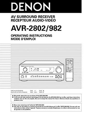 denon avr 982 avr 2802 receiver owners instruction manual reprint rh amazon com denon avr 2802 user manual pdf denon avr 2802 user manual pdf