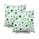 TOMWISH 2 Packs Hidden Zippered Pillowcase Green and White Retro Circles Pattern 16X16Inch,Decorative Throw Custom Cotton Pillow Case Cushion Cover for Home