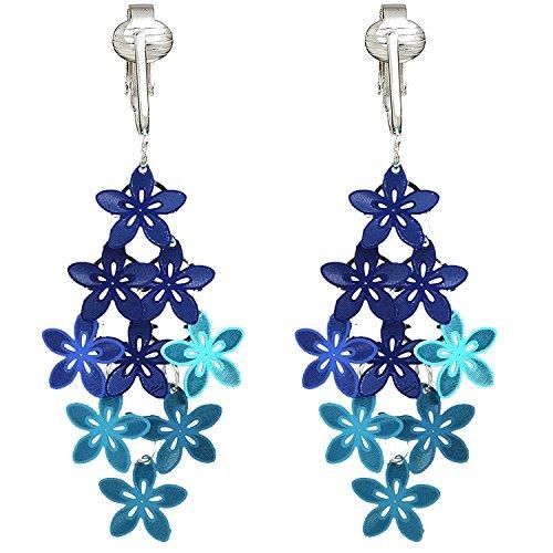 Beautiful Dangle Clip On Earrings for Women, Bohemian Drop Butterfly, Dragonfly, Leaves, Flowers (Blue Flowers)