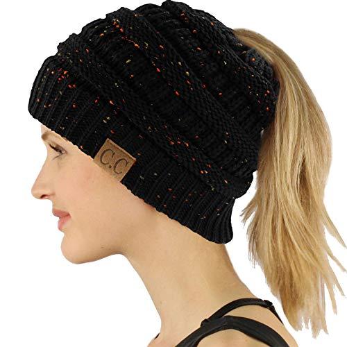Ponytail Messy Bun BeanieTail Soft Winter Knit Stretchy Beanie Hat Cap Confetti Black