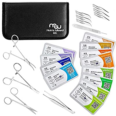 Mixed Suture Threads with Needle + Tools for Medical Student's Surgical Practice Kit; Outdoor Camping Emergency Survival Demo; Hospital First Aid Training (2-0, 3-0, 4-0, 5-0 with Instruments) 24 Set