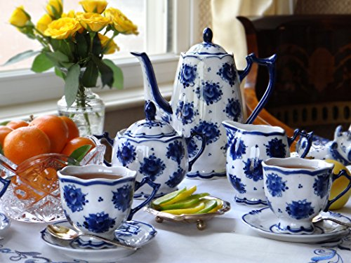 Gzhel Porcelain Coffee Set for 6 persons ''Irina'' 15 pc. by JSC Gzhel
