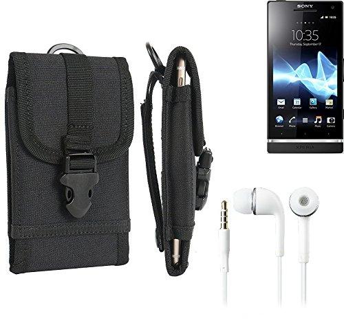 bolsa del cinturón / funda para Sony Xperia S, negro + Auriculares | caja del teléfono cubierta protectora bolso - K-S-Trade (TM)