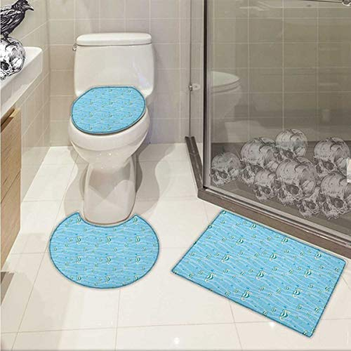 (Animal 3 Piece Large Contour Mat Set Cartoon Like Seahorses for Kids Nursery Baby Girls Boys Childish Playroom Nautilus 3D Digital Printing Rug Set Blue)