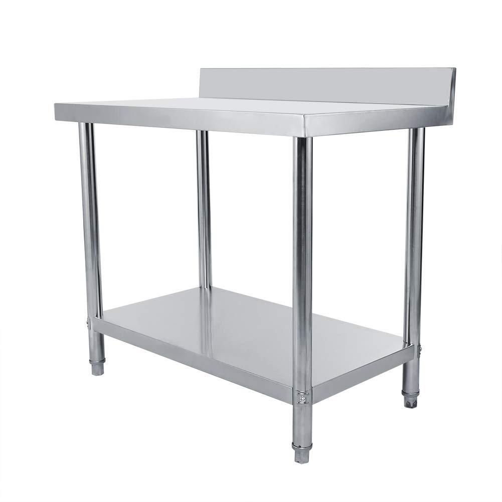 100 x 60 x 95cm Tavolo da Lavoro per Cucina Banco della Cucina per Preparazione Cibo Tavolo di Lavoro Professionale in Acciaio Inox
