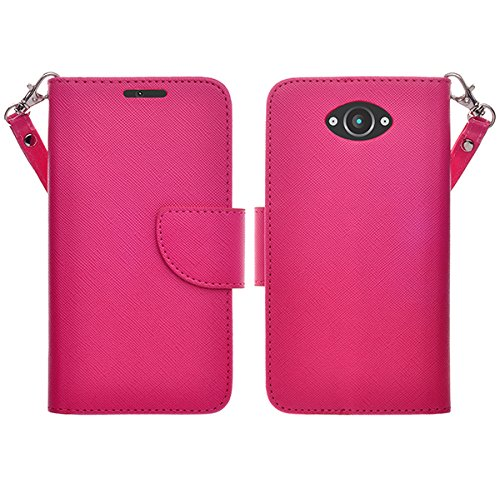 Motorola Droid Turbo Case - Magnetic Leather Flip Wallet Pouch Motorola Droid Turbo, Slim Folio Case with Kickstand, 2 Credit Card Slot Wallet Pouch (NOT Compatible with Ballistic Nylon Version) (HOT PINK WALLET POUCH)