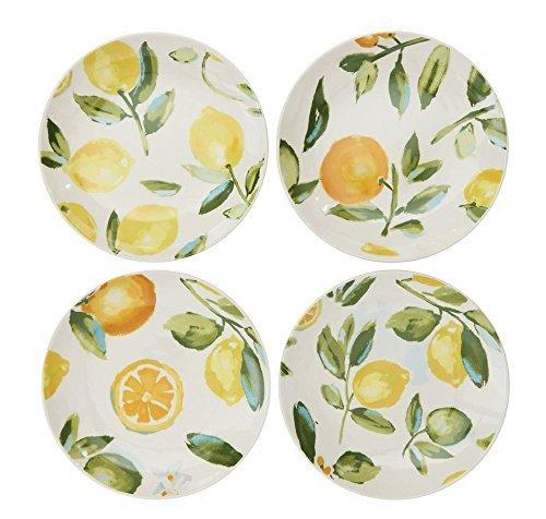 Salad Tree Plate Lemon - Lemon Lime Orange Citrus Fruit Designs White 8 x 8 Stoneware Decorative Dishes, Set of 4