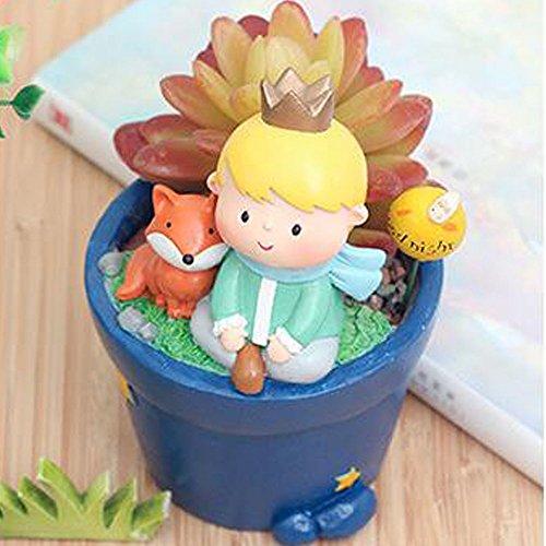 HEHEN Fairy Tale Series Garden Little Prince Plant Flower Pots Micro-landscape Plant Pots Succulent Plant Pots Resin Flower Pots(With Fox) ()