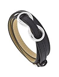 Black Leather Bracelet Wrap Infinity Stainless Steel Belt Buckle Clasp 8 mm, fits 7 inch wrists