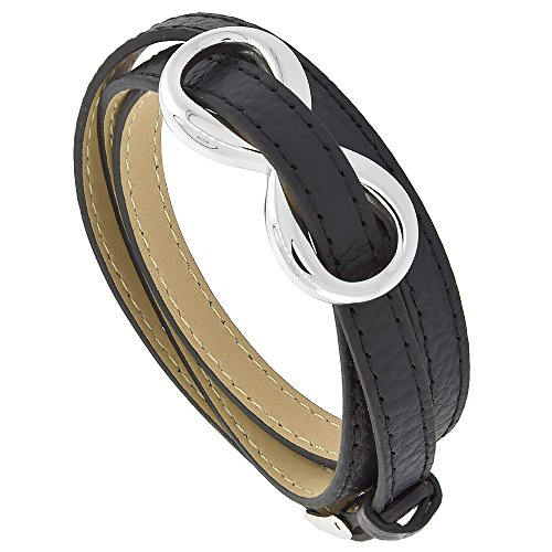 Stainless Leather Bracelet Infinity Buckle