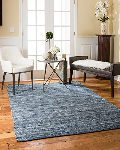 NaturalAreaRugs Montero Collection Cotton Area Rug, Handmade, 90% Leather and 10% Cotton, Durable, Stain Resistant, Environment-Friendly, (5'x8') Denim Color - Montero Leather