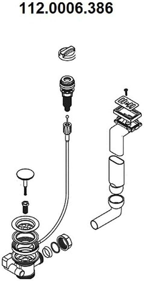 incorporado en el fregadero 1 1//2 Sistema de desag/üe para FRANKE Tina TAX y TAL 684 Franke Kitchen Systems