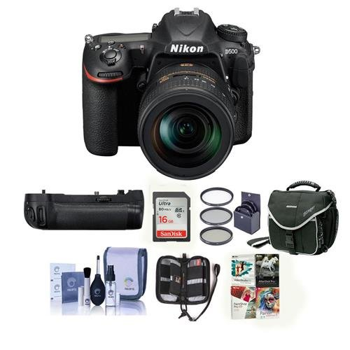 Nikon D500 DSLR with AF-S DX NIKKOR 16-80mm f/2.8-4E ED VR Lens - Bundle with MB-D17 Multi Power Battery Pack, 16GB SDHC Card, Camera Case, Cleaning Kit, 72mm Filter Kit, Software Pack, and More -  1560 G