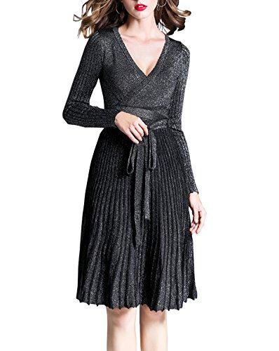 Manches Longues Des Femmes R.vivimos V-cou Mince Longueur Du Genou Une Ligne De L'argent Robe Pull Noir