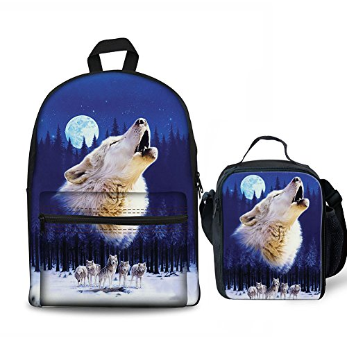 FOR U DEISGNS 2 Piece Children Kids School Backpack Set with Thermal Lunch Bags Wolves Howling at Moon