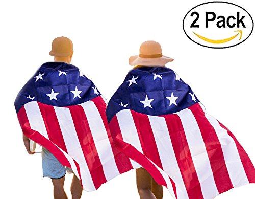 KooNicee American Flag Cape – 4th of July Decorations Costume Men Women Kids (Usa Women's Soccer Halloween Costumes)