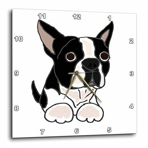 3dRose Cute Boston Terrier Puppy Dog Original - Wall Cloc...