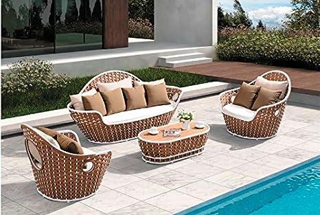 Set sofas terraza y jardin Strips aluminio blanco y teka ...