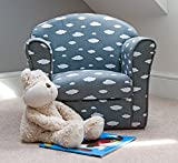 Sue Ryder Children's Grey and White Cloud Armchair Tub Chair Patterned Kids Comfy