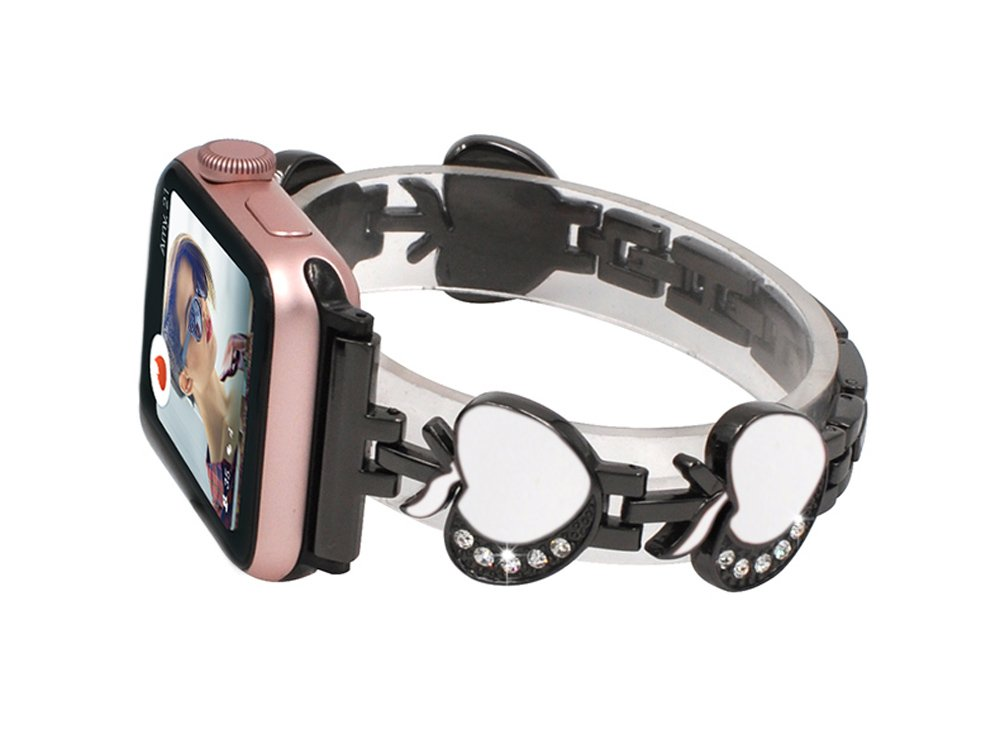 Women Bands for Apple Watch, Crazy Panda Apple Pattern Stainless iWatch Replacement Strap Deluxe Bling Rhinestone Bracelet Wristband for Apple Watch All Version 42mm - Black Bands & White Apple