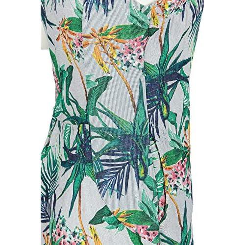 PEKIVESSA Leinenkleid Damen Tropical Print Knielang ärmellos