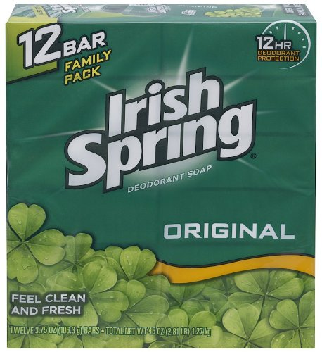 Irish Spring Bath Bar Soap, Original, 3.75 oz. Bars, 12-Count