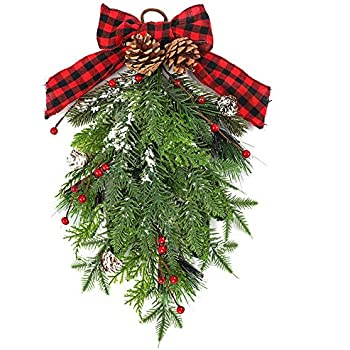 TERUNPU 18 Inch Christmas Swag Christmas Teardrop Door Swag with Red Berry Decor for Holiday Christmas Wall Hanging
