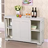 corner buffet table - go2buy Antique White Stackable Sideboard Buffet Storage Cabinet with Sliding Door Kitchen Dining Room Furniture