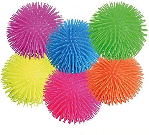 Kicko Puffer Balls - 6 Pack Assorted Colors: Blue, Green, Orange, Yellow, Pink and Purple, for Kids Sensory Stress Relief, therapy Toy Favor, Goody Bag Filler