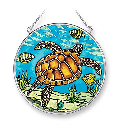 (Amia Sea Turtle, Hand-Painted Glass Circle Suncatcher, 4-1/2 Inches, 42272, 4-1/2