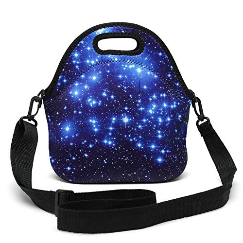 AMARY Blue Shining Stars Travel Outdoor Thermal Waterproof Carrying Lunch Tote Bag Cooler Box Neoprene Lunchbox Container Case(Blue Stars) ()