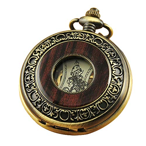 (VIGOROSO Men's Hand-Wind Mechanical Pocket Watch Vintage Steampunk Wood Grain Hollow Design with Chain and Gift Box)