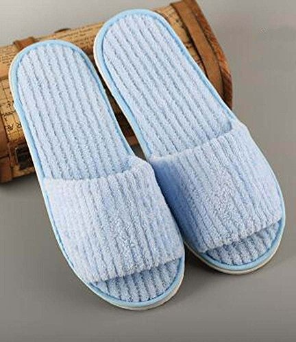Open Soft Disposable Slippers 10 Slippers Velvet Toe Blue Pairs Coral nqw7TOx10
