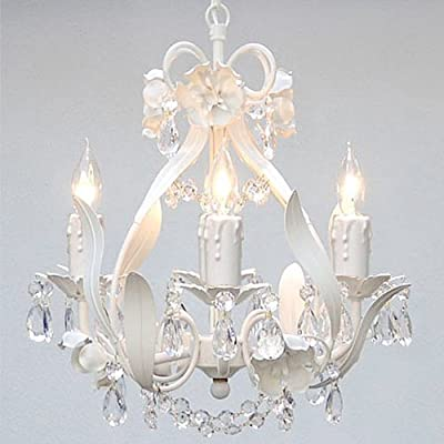 Wrought Iron Crystal Chandelier Lighting Country French White, 4 Lights, Ceiling Fixture