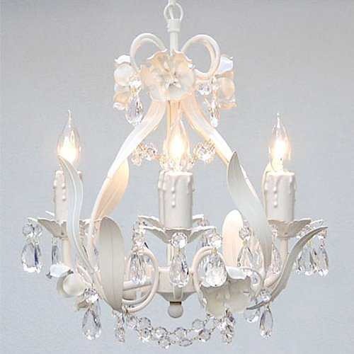 - Wrought Iron Crystal Chandelier Lighting Country French White, 4 Lights, Ceiling Fixture