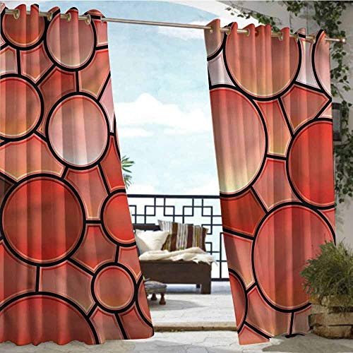(crabee Outdoor Privacy Curtain for Pergola Abstract,Stained Glass Mosaic Art,W84 xL96 Outdoor Curtain for Patio,Outdoor Patio Curtains)