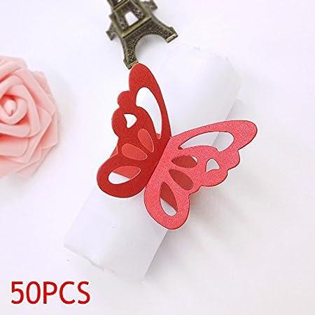 ZREAL 50pcs Papillon 3D Rond de Serviette en Papier Décoration de Table pour Fêtes Mariage Noël Anniversaire