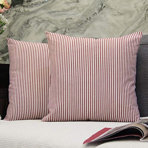 (JOJUSIS Cotton Woven Striped Throw Pillow Covers Soft Solid Farmhouse Classic Decorative Cushion Pillowcases for Sofa Bedroom Car 20 x 20 Inch Red Pack of 2)