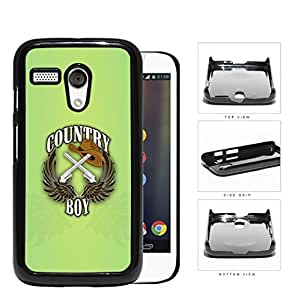 Country Boy Sign with Guns Cowboy Hat and Brown Wings with Green Motorola (Moto G) Hard Snap on Plastic Cell Phone Case Cover