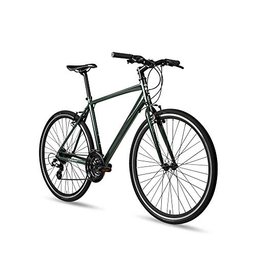 6KU Canvas Hybrid Bike, 24-Speed Urban City Commuter Bicycle-green-Small, Deep Forest, 47cm/Small