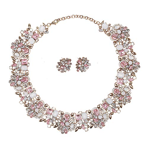 Bubble Style Earrings - Holylove Light Pink Retro Style Statement Necklace Bracelet Earrings for Women Novelty Jewelry Set 1 with Gift Box-8041 Light Pink