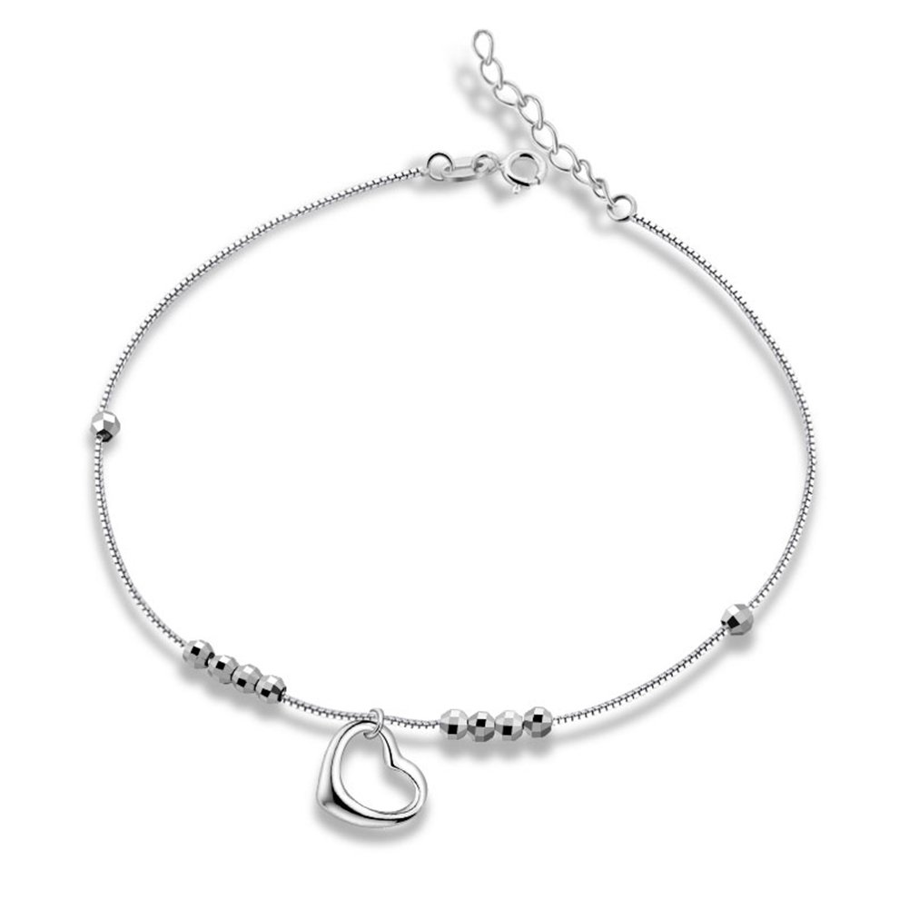 Sinya Heart Pendant Hanging Anklet with Sterling Silver Bead Rope Box Chain Adjustable
