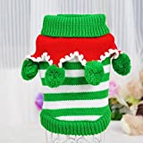 Topicker Christmas Colorful Pet Dog Strip Sweater Cozy Pet Clothes Pet Coat for Small Dog ,Medium Dog,Large Dog,Green&White(S)