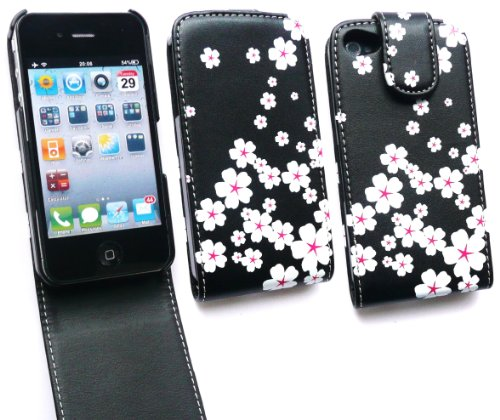 Emartbuy Apple Iphone 4 4G 4Gs 4S Luxury Hd Flip Case / Cover / Tasche Weiß Blühen Und Lcd Screen Protector