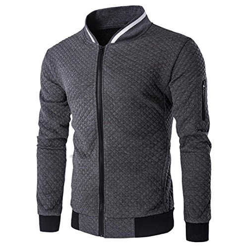 HOT ! YANG-YI Mens' Fashion Long Sleeve Plaid Cardigan Zipper Sweatshirt Tops Jacket Coat (Dark Gray, M) by YANG-YI Mens