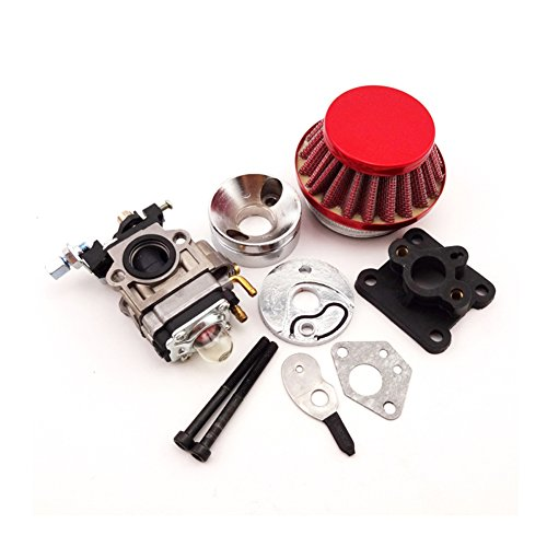 TC-Motor Red 15mm Racing Carburetor Kit Set Carb Air Filter Stack For 2 Stroke 47cc 49cc Engine Mini ATV Quad Dirt Pocket Bike